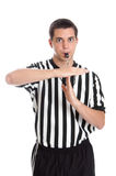 Teen referee giving sign for technical foul. A teen boy basketball referee giving the sign for technical foul isolated on white Stock Photography