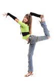 Teen in ripped bluejeans. Teen in casual clothing - ripped jeans, headband, wrist bands stock images