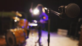 Teen rock music - passionate girl percussion drummer perform music break down, de-focused Royalty Free Stock Photo