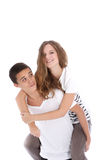 Teen rode at back of boyfriend Royalty Free Stock Image