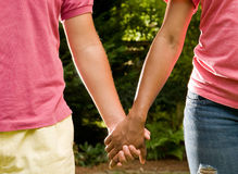 Teen romance -interracial couple Stock Images