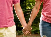 Teen romance -interracial couple Stock Images