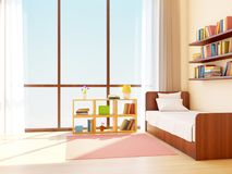 Teen room japanese. Teen room with big window in japanese style. 3d illustration Royalty Free Stock Image