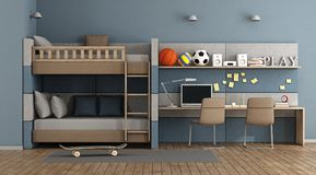 Teen room with bunk bed Stock Photo