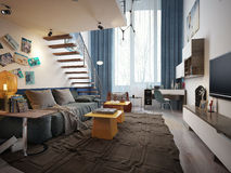 Teen room contemporary style. Children for a teenager in Contemporary style. 3d images Royalty Free Stock Photography