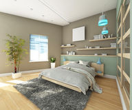 Teen's Bedroom With  Carpet Stock Image