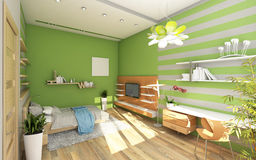 Teen's Room With Colored Wall Stock Photo
