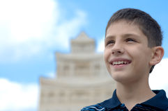 Teen at the sand castle Stock Photography