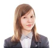 Teen school student. Confident girl teen school student isolated on white Stock Photo