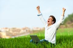 Teen shouting of joy outdoors. Stock Photo