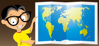 Teen shows a map of the world Royalty Free Stock Photos