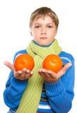 Teen Shows oranges Stock Photo