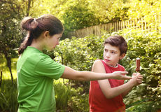 Teen siblings couple boy and girl quarreling Royalty Free Stock Image