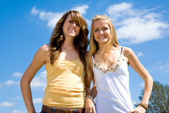 Teen Sisters Outdoors Royalty Free Stock Photography