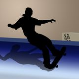 Teen on skateboard. Silhouette of teen on skateboard against colored background Royalty Free Stock Photography