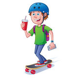 Teen Skateboarder with Backpack Stock Image