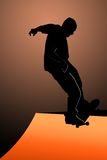 Teen skater. Silhouette of teen on skateboard against colored background Stock Images
