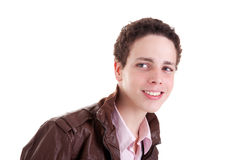 Teen smiling and looking to camera. Isolated on white, tudio shot Stock Image