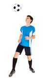 Teen soccer player. Teenager boy soccer player isolated on white background Royalty Free Stock Photos