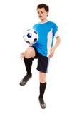Teen soccer player. Teenager boy soccer player isolated on white background Stock Photography