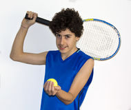 Teen sportsman playing tennis Stock Photography
