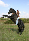 Teen and stallion upright. Teenager and her black stallion, uprigh in a field Stock Images