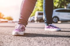 Teen stand in road Royalty Free Stock Images