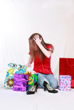 Teen Stressed Out with Shopping Bags royalty free stock photo
