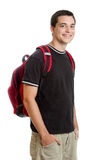 Teen student. A happy teen student with backpack isolated on white Royalty Free Stock Photos