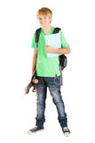 Teen student. Male teen student full length portrait on white Royalty Free Stock Image