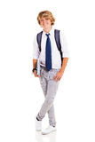 Teen student. Cute male teen student studio portrait on white background Stock Photos