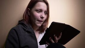 Teen student with ebook reader stock video