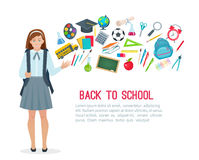 Teen Student Girl And School Supplies. Royalty Free Stock Photo