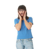 Teen student girl in glasses Royalty Free Stock Photo