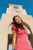 Teen Student Girl At High School Campus Clock Towe Royalty Free Stock Images