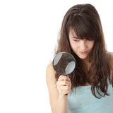 Teen student girl with magnifier Stock Images