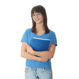 Teen student girl with note pad Stock Photo