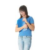 Teen student girl with note pad Stock Photos