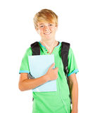 Teen student half length. Male teen student half length portrait isolated on white Stock Photo