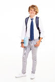 Teen student portrait. Male teen high school student full length portrait on white Stock Photography