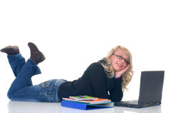 Teen student working on laptop Stock Images