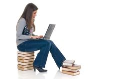Teen student working on laptop Royalty Free Stock Photography