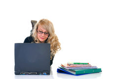 Teen student working on laptop Stock Image