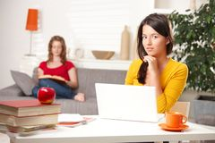Teen students learning at home Royalty Free Stock Images