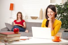 Teen students learning at home Royalty Free Stock Image