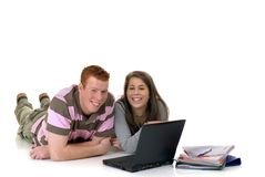 Teen students working on laptop Royalty Free Stock Photo