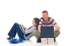Teen students working on laptop Stock Photos