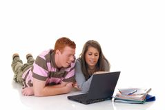 Teen students working on laptop Royalty Free Stock Photography