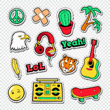 Teen Style Stickers, Badges and Patches for Fashion Prints. Vector illustration Royalty Free Stock Photo