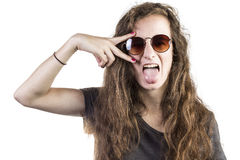 Teen with sunglasses. Female teen with sunglasses with a white background Stock Image
